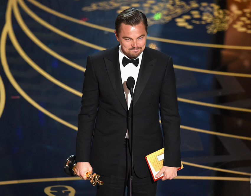 Leonardo DiCaprio wins his first Oscar after four nominations.
