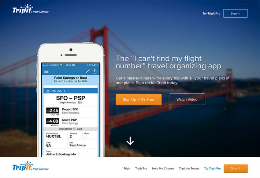 TripIt is travel organizing app that creates a master itinerary you can access anywhere. Image Source: Imagineering SF