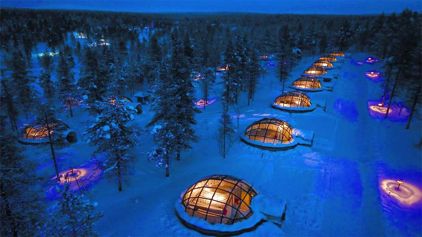 The Kakslauttane Artic Resort is the best place to watch the Nothern Lights.