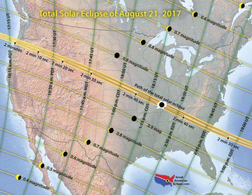 The 2017's total solar eclipse map